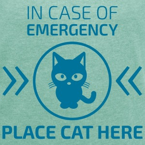 Emergency cat T-Shirts - Frauen T-Shirt mit gerollten Ärmeln
