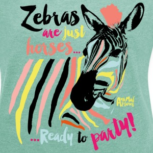 Animal Planet Frauen T-Shirt Zebra - Frauen T-Shirt mit gerollten Ärmeln