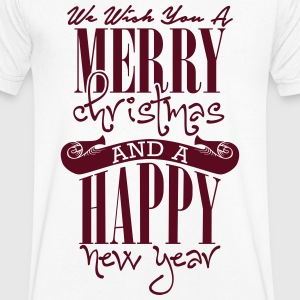 We wish you a merry christmas and a happy new year T-shirts - Mannen T-shirt met V-hals