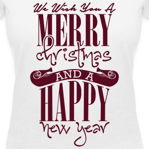 We wish you a merry christmas and a happy new year T-shirts - T-shirt med v-ringning dam