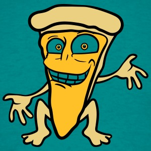 cartoon comic funny face pizza margherita piece of T-Shirts - Men's T-Shirt