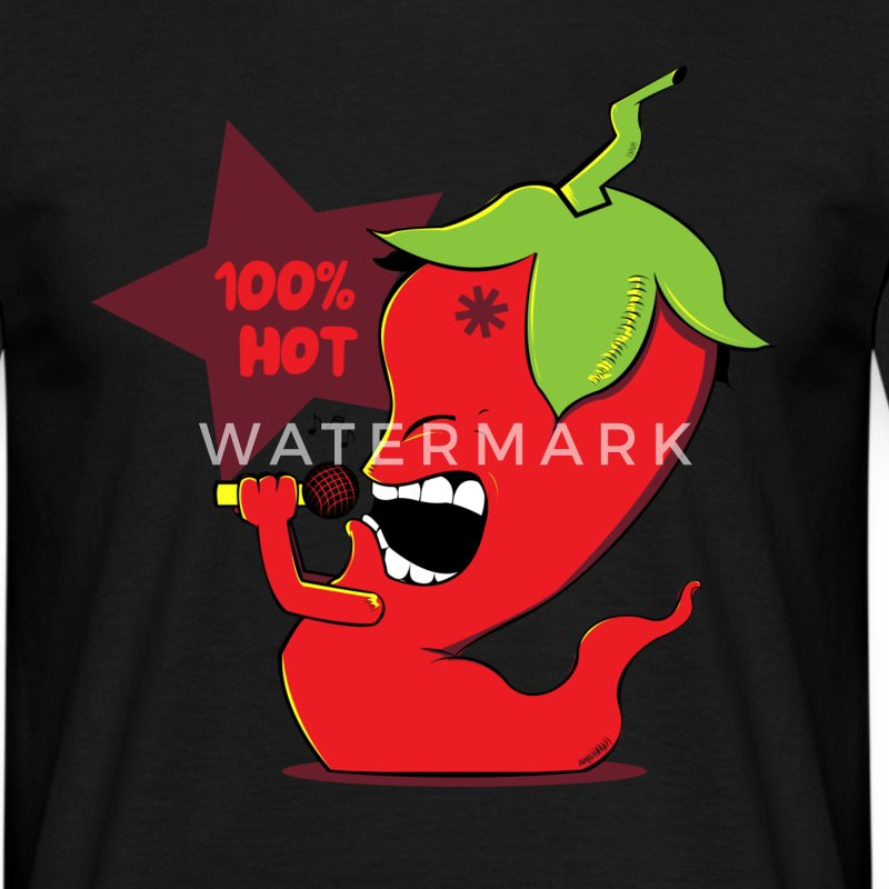 Noir Red Chili Pepper Tee shirts - T-shirt Homme