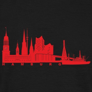 Hamburger Skyline red - Männer T-Shirt