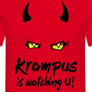 Krampus is watching U with evil eyes and horns T-Shirts - Men's T-Shirt