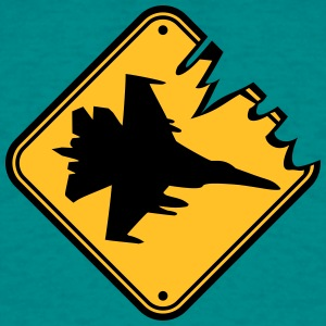 Fare Sign Advarsel Fare landing fighter jetfly ang T-shirts - Herre-T-shirt