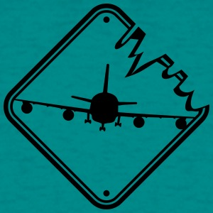 Fare Sign Advarsel Fare landing fly gul T-shirts - Herre-T-shirt