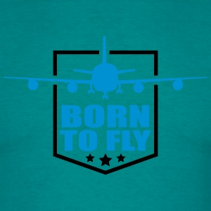 Design born to fly logo wing aircraft pilot crest T-Shirts - Men's T-Shirt