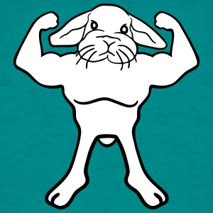 muscle bodybuilder strong guy bunny hase T-Shirts - Men's T-Shirt