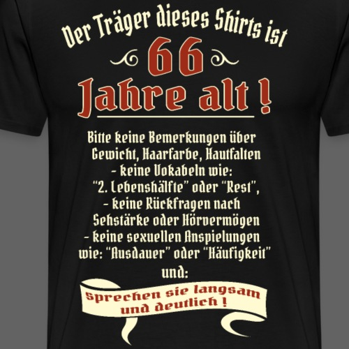 Geburtstags Shirt Träger 66 Jahre alt RAHMENLOS