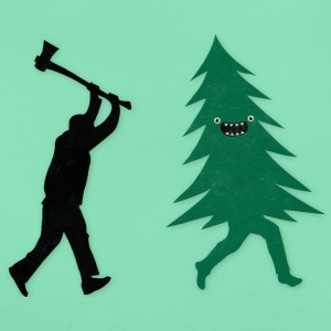 Funny Christmas Tree Hunted by lumberjack Humor Tee shirts - T-shirt Femme