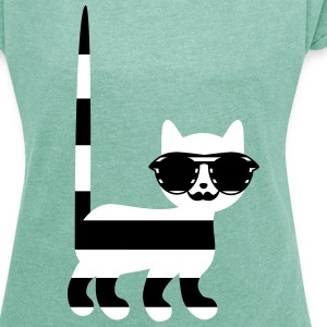 striped cat with mustache T-Shirts - Women's T-shirt with rolled up sleeves