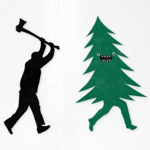 Funny Christmas Tree Hunted by lumberjack Humor Casquettes et bonnets - Casquette Flexfit