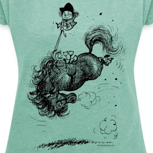 Thelwell Pony Springing - Vrouwen T-shirt met opgerolde mouwen