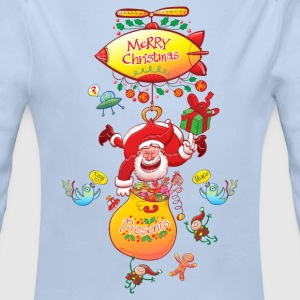 Santa has a Zeppelin to Deliver Xmas Gifts Baby Bo - Longlseeve Baby Bodysuit