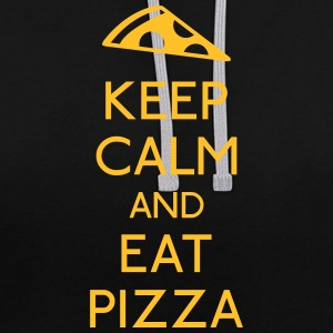 Keep Calm Pizza garder calme pizza Sweat-shirts - Sweat-shirt contraste