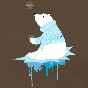 Gråbrun Polar bear with snowflakes T-shirts - Herre premium T-shirt