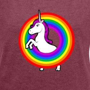 Unicorn in the rainbow T-Shirts - Women's T-shirt with rolled up sleeves