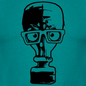 nerd geek hornbrille comic cartoon grappig gasmask T-shirts - Mannen T-shirt