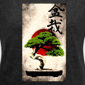 Bonsai against Japanese flag Art Print T-Shirts - Women's T-shirt with rolled up sleeves