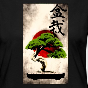 Bonsai against Japanese flag Art Print Long Sleeve Shirts - Women's Premium Longsleeve Shirt