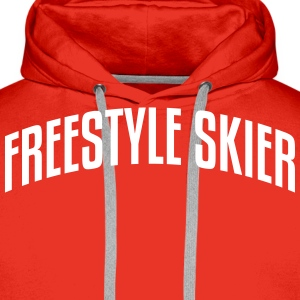 freestyle skier stylish arched text logo premium h - Men's Premium Hoodie