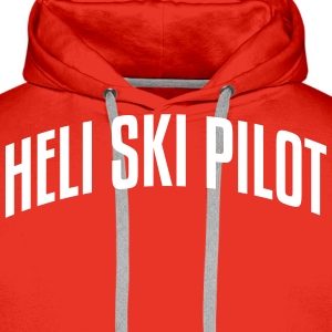 heli ski pilot stylish arched text logo premium ho - Men's Premium Hoodie