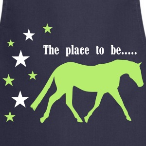 The Pleace to be -- Horse  Aprons - Cooking Apron