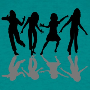 Reflection shadow dancing celebrating lot of peopl T-Shirts - Men's T-Shirt