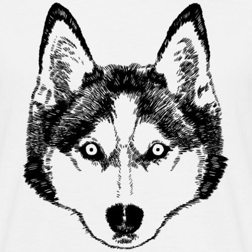 Schwarz-weiße Zeichnung eines Husky-Hundes