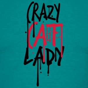 graffiti tekstfarge crazy cat lady faller gal mors T-skjorter - T-skjorte for menn