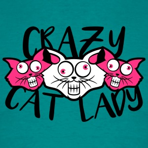 crazy cat lady verrückt lustig comic cartoon katze T-Shirts - Männer T-Shirt