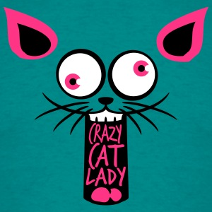 crazy cat lady crazy funny comic cartoon cat face  T-Shirts - Men's T-Shirt