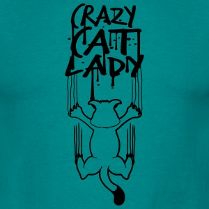 crazy cat lady crazy horror creepy monster cat bad T-Shirts - Men's T-Shirt