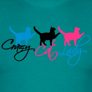 crazy cat lady 3 cats text logo design crazy funny T-Shirts - Men's T-Shirt