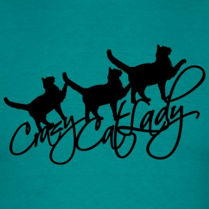 Cool crazy cat lady 3 katter tekst logo design gal T-skjorter - T-skjorte for menn