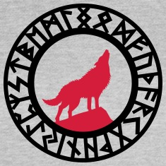 Wolf Howling Runes T-Shirts