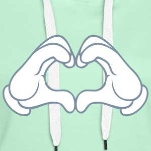 Love Hand Sign Sweat-shirts - Sweat-shirt à capuche Premium pour femmes