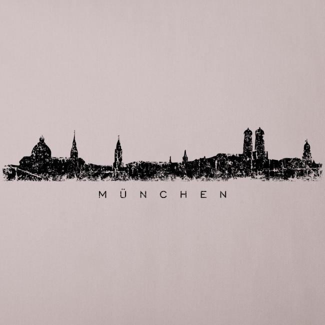 München Skyline (Vintage/Schwarz) Sofakissenbezug