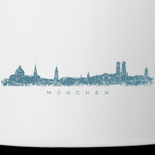 München Skyline (Vintage/Blau) Tasse