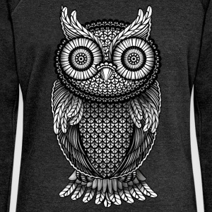 Heather Black Owl Eagle Owl Hoodies & Sweatshirts - Women's Boat Neck Long Sleeve Top
