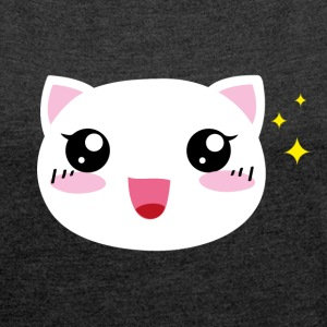 Kawaii happy Cat - Frauen T-Shirt mit gerollten Ärmeln