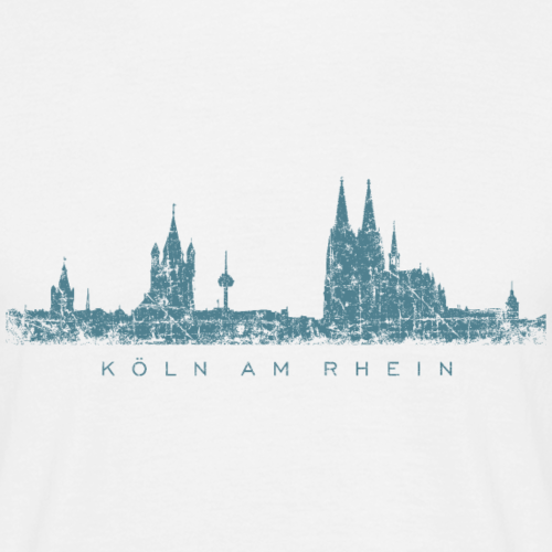 Köln am Rhein Skyline Vintage Blau
