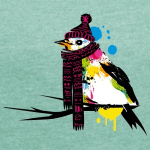 Bird in wintertime Graffiti T-Shirts - Women's T-shirt with rolled up sleeves
