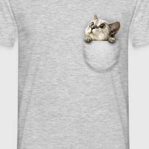 Grijs gespikkeld Pocket cat T-shirts - Mannen T-shirt