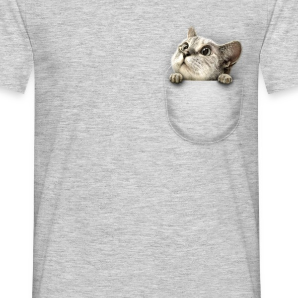 Grå meleret Pocket cat T-shirts - Herre-T-shirt