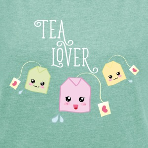 Myntemelert Tea bag kawaii T-skjorter - T-skjorte med rulleermer for kvinner