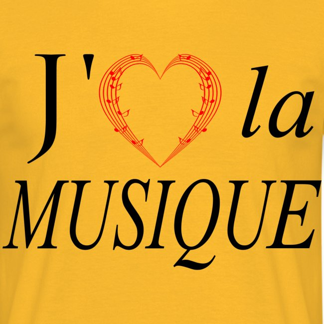 Cœur portée de partition j'aime la musique