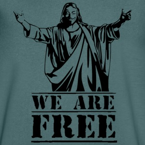 Guy Fawkes We Are Free T-Shirts - Men's V-Neck T-Shirt