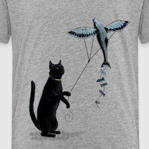 Cat with Flying Fish Kite T-Shirts - Kinder Premium T-Shirt