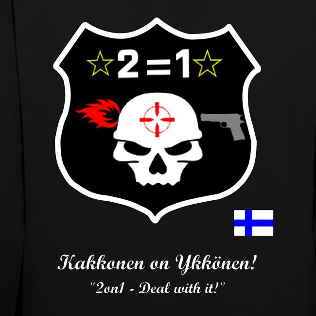 2on1 huppari, jossa logo ja slogan paidan selkäpuolella